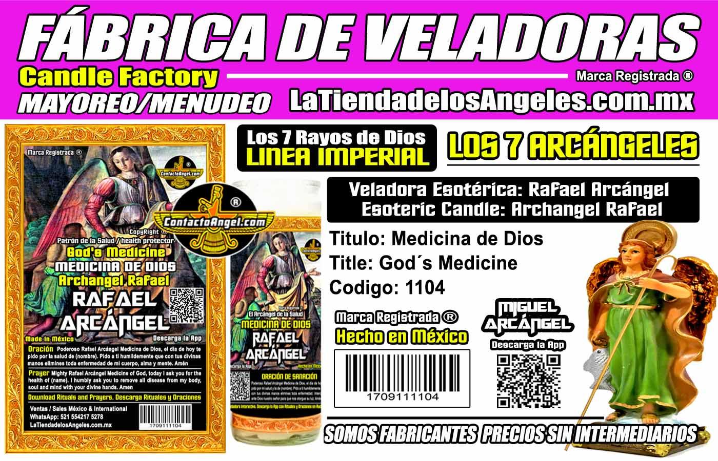 Fábrica de Veladoras Esotéricas CDMX Mayoreo - Veladora Arcángel Rafael Medicina de Dios - Sanación Angelical