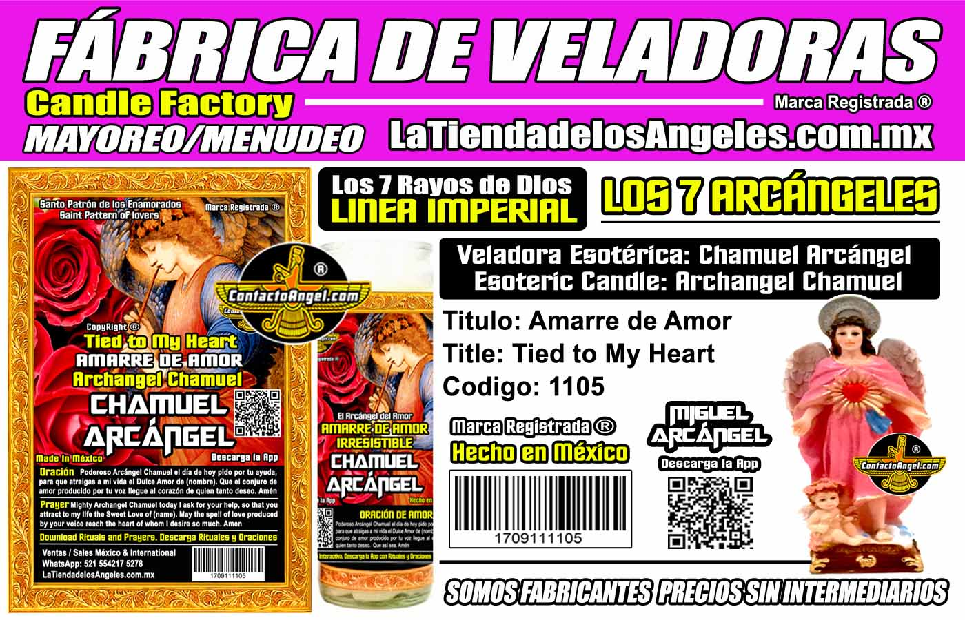 Fábrica de Veladoras Esotéricas CDMX Mayoreo - Veladora Arcángel Chamuel Amarre de Amor Irresistible